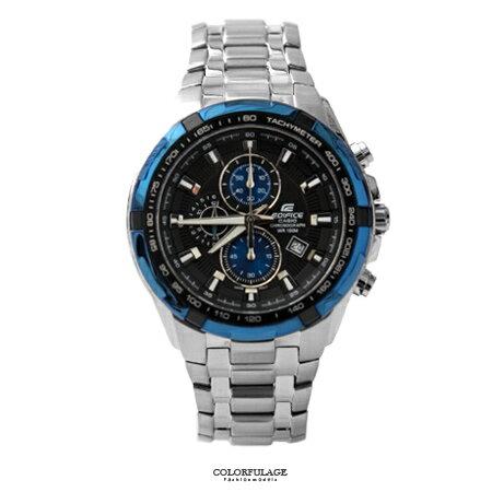 CASIO卡西歐EDIFICE系列 南極光三眼賽車主義不鏽鋼腕錶 防水100米手錶 柒彩年代【NE1457】原廠公司貨 0