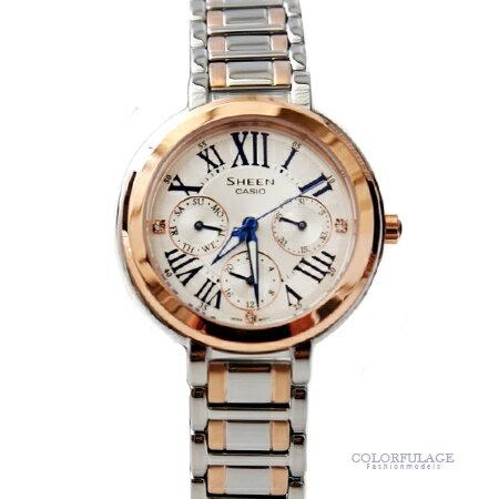 CASIO卡西歐SHEEN系列 撞色玫瑰金三眼不鏽鋼手錶 女人優雅設計 柒彩年代【NE1461】原廠公司貨 0