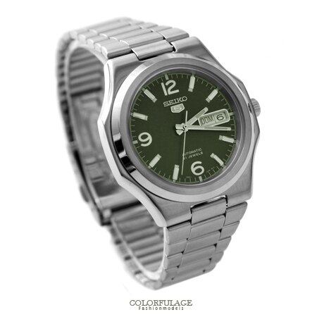 SEIKO精工五號 軍綠色自動上鍊機械錶 裱背鏤空 自動上鍊手錶 柒彩年代【NE1477】原廠平行輸入 0