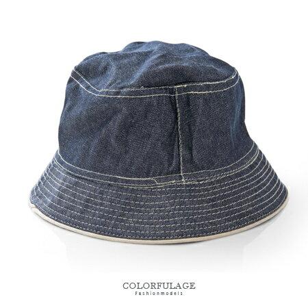 經典刷色牛仔布料漁夫帽 遮陽帽 紳士帽 休閒百搭 貼心雙面設計 柒彩年代【NH184】透氣舒適 0