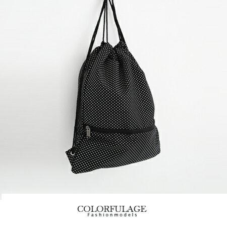 休閒束口袋 點點風格帆布潮流後背包.肩背包.手提包 簡約黑色 柒彩年代【NZ362】中性人氣