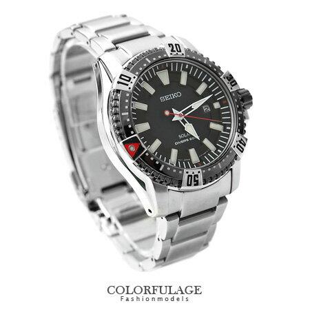 SEIKO潛水手錶 太陽能實用200米不銹鋼腕錶 粗曠型男 柒彩年代【NE1132】附贈禮盒+提袋 0