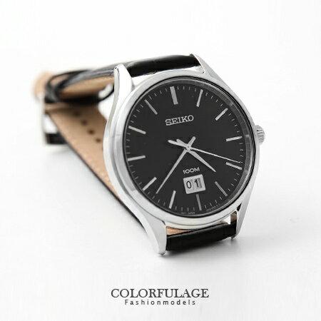 SEIKO精工錶 都會型男真皮手錶 防水 100米 石英簡約刻度 柒彩年代~NE1134~