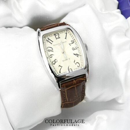 手錶 獨特波紋錶盤酒桶造型皮革腕錶 原廠公司貨 范倫鐵諾Valentino 柒彩年代【NE1120】單支價格 0
