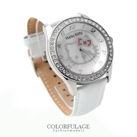 Hello Kitty凱蒂貓腕錶 雪日色澤三麗甌滿鑽 原廠公司貨保固一年 柒彩年代【NE1097】 0