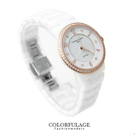 范倫鐵諾Valentino 精密全陶瓷晶鑽刻度珍珠貝面手錶 原廠公司貨 柒彩年代【NE1127】單支價格 0