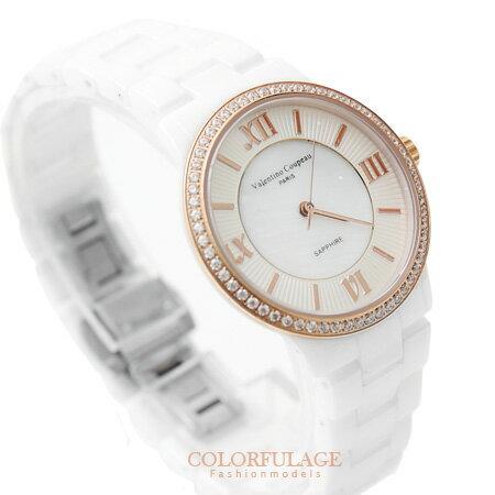 范倫鐵諾Valentino 精密全陶瓷羅馬數字刻度珍珠貝面手錶 原廠公司貨 柒彩年代【NE1128】單支價格 0