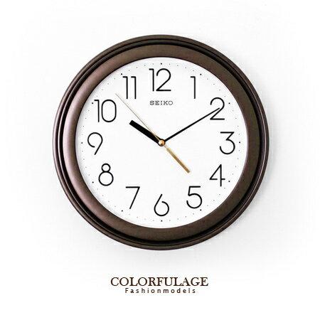 SEIKO精工時鐘 極簡數字雙圈可可配色圓形掛鐘 簡約素雅 柒彩年代【NE1186】原廠公司貨 0