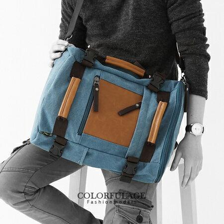 多用途後背包.側背包.肩背包.手提包 潮流型男包 質感帆布+皮革 柒彩年代【NZ348】單個 0