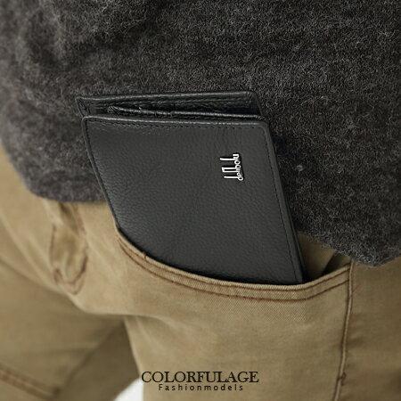 超簡約低調全黑色系真皮短夾 加長設計版 獨特呈現 柒彩年代【NZ355】 0