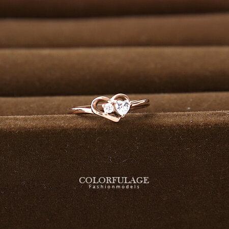 玫瑰金愛心水鑽戒指 女孩鏤空造型抗過敏.氧化鋼製材質 柒彩年代【NC160】 0