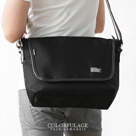 低調素面黑側背包 郵差包 防潑水設計 實用的質感尼龍 柒彩年代【NZ371】潮流東區型男 0
