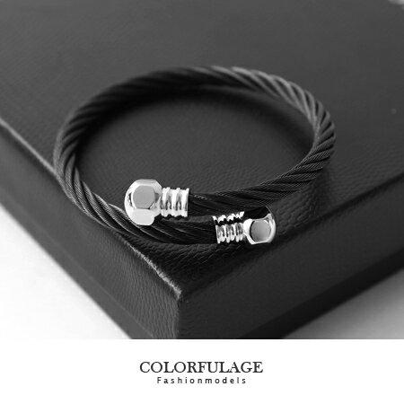手環 極簡個性單品 立體螺絲帽造型黑色螺旋鋼索手環手鍊 柒彩年代【NA248】抗過敏抗氧化 0