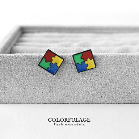 耳環 趣味普普風 方型鮮豔撞色拼圖造型耳針耳環 趣味造型單品 柒彩年代【ND157】一對價格 0