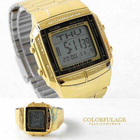 CASIO卡西歐多功能電子錶 DATABANK機能性金色腕錶 保固 柒彩年代【NE1150】原廠公司貨 0