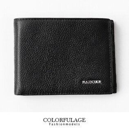 皮夾 都會極簡風格 黑色荔枝壓紋真皮短夾 錢包 多卡夾層設計 柒彩年代【NZ364】