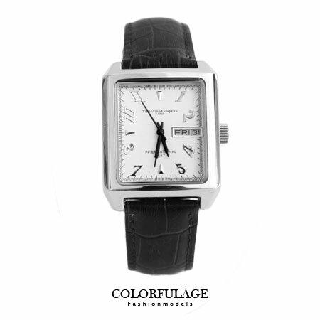 Valentino范倫鐵諾 厚實方形錶殼經典格紋錶盤皮革手錶腕錶對錶 柒彩年代【NE1201】單支 0