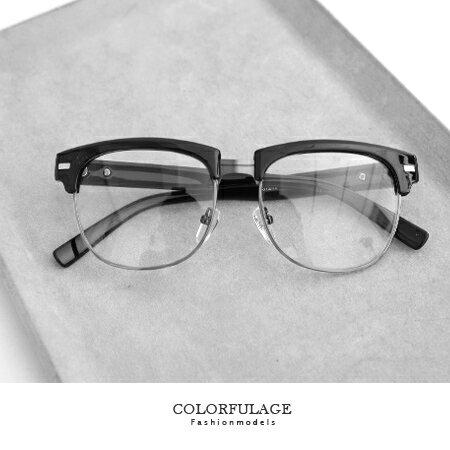 鏡框 文青感 黑色方弧半框測邊鐵片眼鏡 膠框mix金屬 混搭新潮流 柒彩年代【NY245】中性單品 0