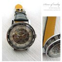 柒彩年代【NE55】極簡全鏤空設計小牛皮表帶自動上鍊機械錶.腕錶~嚴選型男贈禮盒