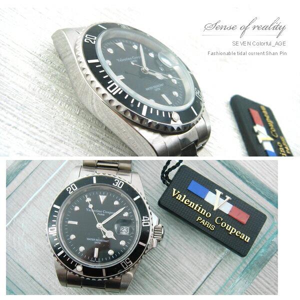 柒彩年代【NE92】范倫鐵諾不繡鋼手錶~專櫃中性型男.免運費 0