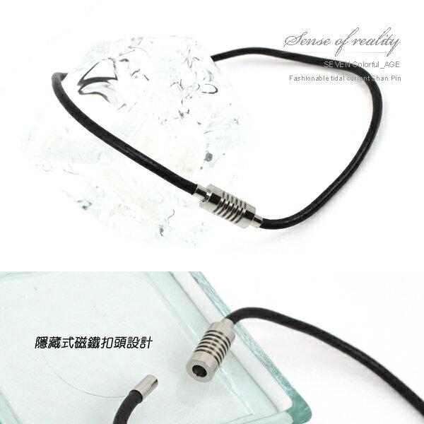 柒彩年代【NB8】日本潮男必備 鈦鋼重質重量造型磁鐵易扣皮革項圈項鍊