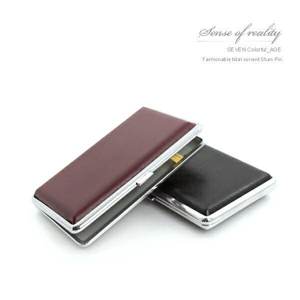 柒彩年代【NL23】復古質感皮革金屬菸盒~隨身攜帶超方便.中性時尚個性 0