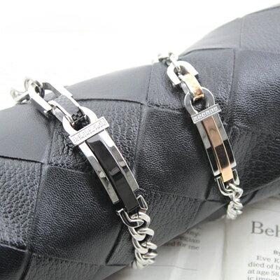 柒彩年代【NA141】西德鋼製情侶手鍊~設計崁入華麗水鑽.錶帶造型 0