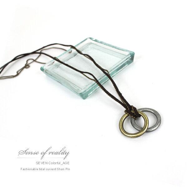 柒彩年代【NB328】多層雙鍊金屬加麻繩長項鍊~雙環設計古銅上色~中性韓系風格 0