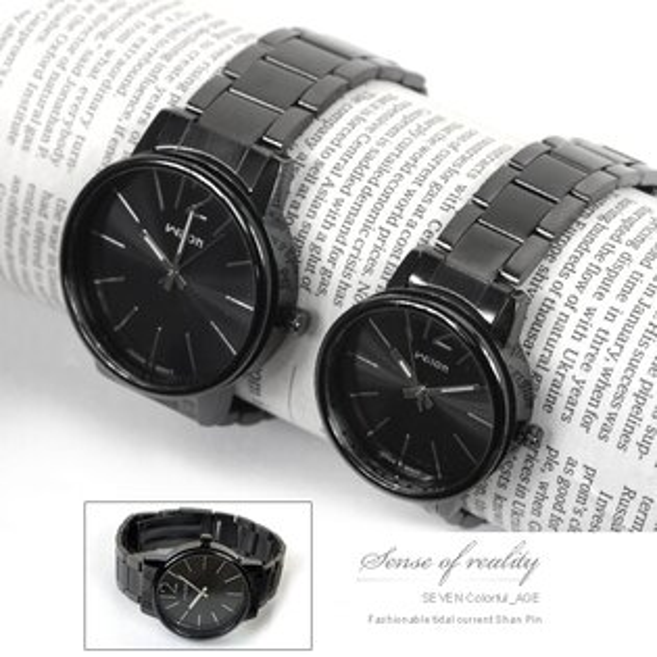 柒彩年代【NE153】厚實獨特側邊鏤空設計手錶~神秘低調全黑對錶.腕錶.~單支價格