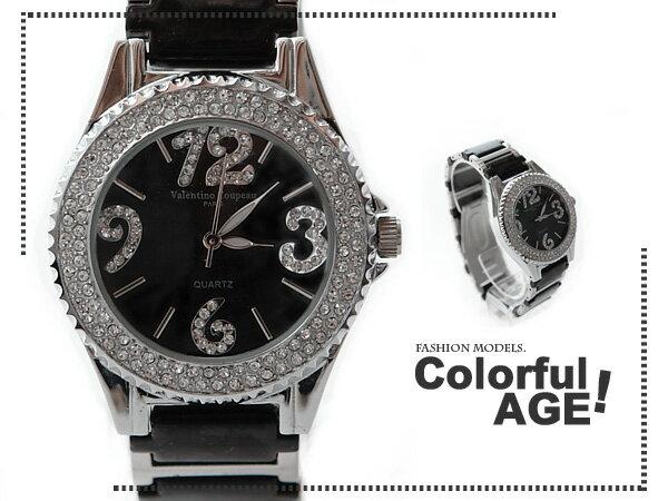 柒彩年代【NE204】范倫鐵諾崁入滿鑽鏡面錶款~陶瓷錶帶女生最愛手錶~氣質名媛 0