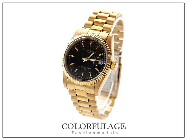 Valentino范倫鐵諾黑金色澤錶