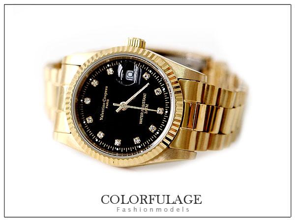 柒彩年代【NE246】范倫鐵諾Valentino全金色澤錶款~崁入水鑚不銹鋼錶殼.錶帶 0