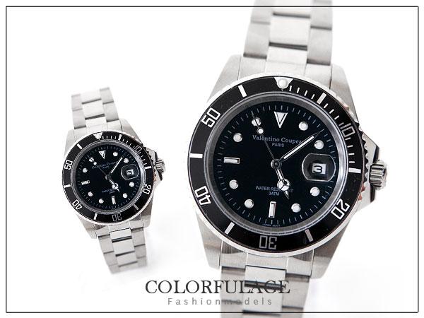 柒彩年代【NE92】范倫鐵諾不繡鋼手錶~專櫃中性型男 0