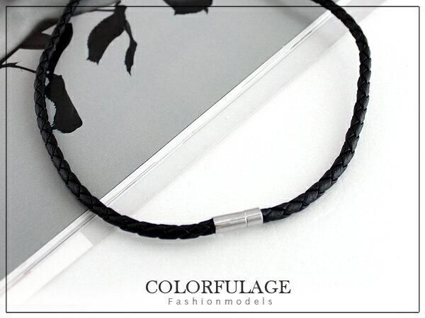 柒彩年代【NB454】皮革編織搭配項圈 還可以使用自己的項鍊˙一款多用途 0