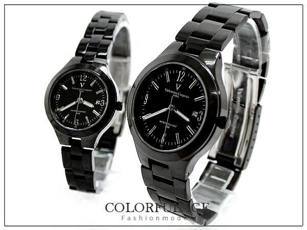范倫鐵諾全黑實心不銹鋼材錶
