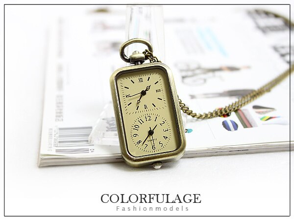 柒彩年代【NB465】韓國引進獨特兩地真的可看時間長項鍊 古銅上色復古品味懷錶.鐘錶