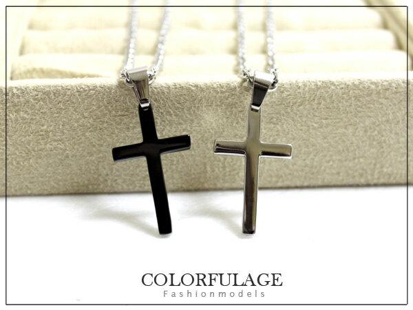 柒彩年代【NB468】採用簡約素面十字架項鍊 鋼墜材質抗過敏.氧化~單條價格 0