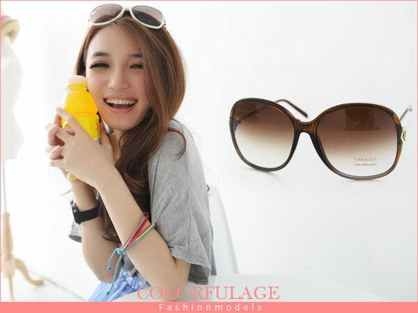 柒彩年代【NY143】名媛氣質玳瑁大框墨鏡 女孩必搭太陽眼鏡 明星注目款