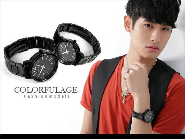 柒彩年代【NE153】厚實獨特側邊鏤空設計手錶~神秘低調全黑對錶.腕錶.單支價格