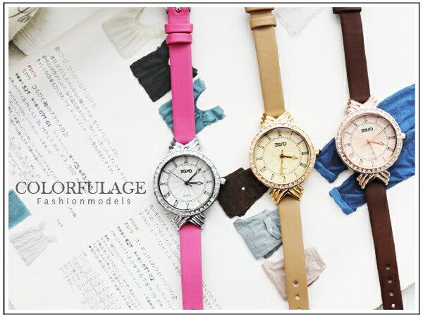 柒彩年代【NE401】氣質羅馬刻度圓款手錶 滿鑽皮革錶帶 秀氣女孩腕錶~單支 0