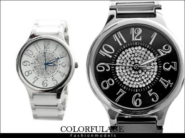 柒彩年代【NE524】 精密陶瓷全部銹鋼腕錶 崁入奧地利水鑽手錶 范倫鐵諾Valentino~單支 0