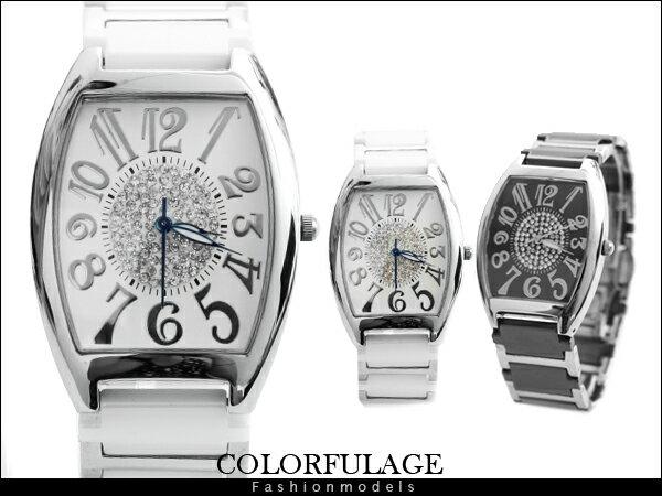 柒彩年代˙范倫鐵諾Valentino 酒桶精密陶瓷不銹鋼錶款【NE525】崁入奧地利水鑽手錶~單支 0
