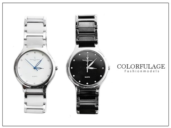 柒彩年代~范倫鐵諾Valentino 精密陶瓷不銹鋼錶款~NE526~極簡 大圓陶瓷手錶^