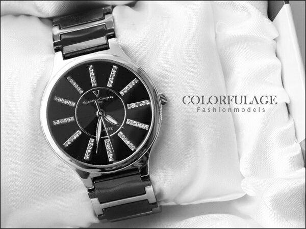 柒彩年代˙專櫃華麗水鑽范倫鐵諾Valentino精密陶瓷腕錶 禮物原廠公司貨【NE612】單隻價格 0