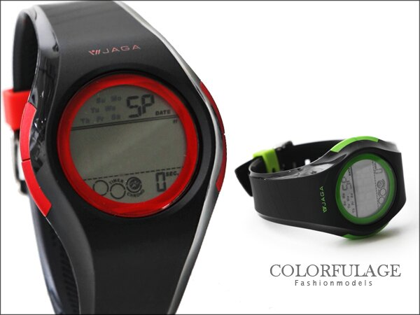 JAGA捷卡電子錶 完美流線型中性時尚黑手錶 防水100米 柒彩年代【NE719】單支 0
