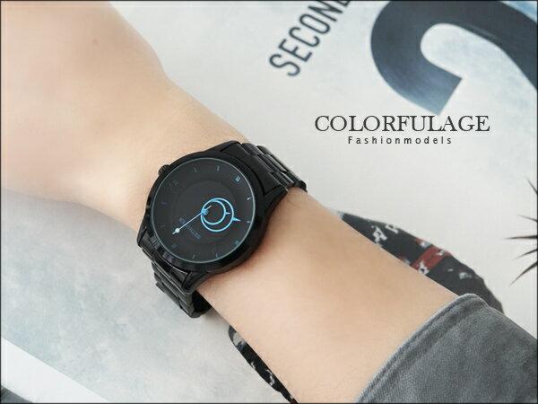 柒彩年代˙低調配色型男全黑手錶 雙圈造型簡約刻度 【NE783】單支價格