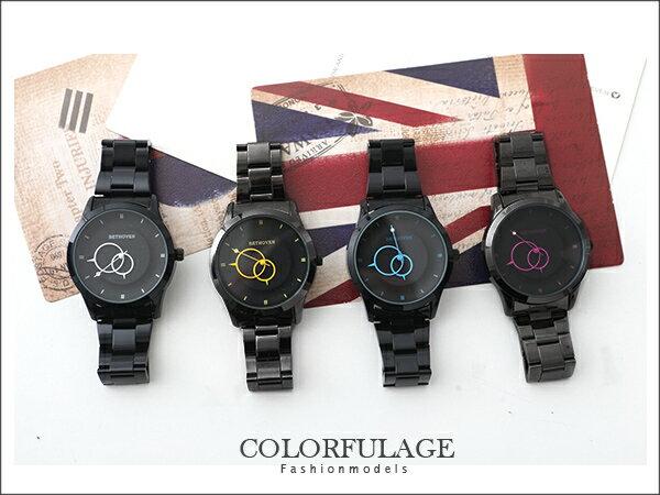 柒彩年代˙低調配色型男全黑手錶 雙圈造型簡約刻度 【NE783】單支價格 0