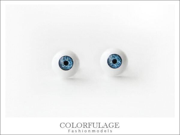 柒彩年代˙龐克搖滾風格 藍眼球眼珠耳針耳環 獨特中性款【ND130】一對價格