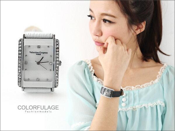 范倫鐵諾Valentino手錶 經典方形水鑽真皮腕錶 氣質女孩名媛 柒彩年代【NE211】原廠公司貨 0