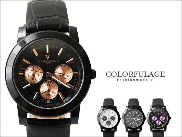 范倫鐵諾Valentino 全黑真三眼設計皮革手錶 藍寶石水晶 原廠公司貨 柒彩年代【NE846】單支 0